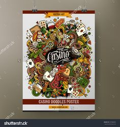 Cartoon colorful hand drawn doodles Casino poster template. Very detailed, with lots of objects illustration. Funny vector artwork. Corporate identity design.