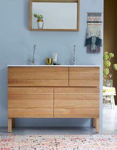Salle de bains bleue Tikamoon Decoration, Vanity, Cabinet, Bathrooms, Villa, Home Decoration, Full Bath, Bathing, Ad Home