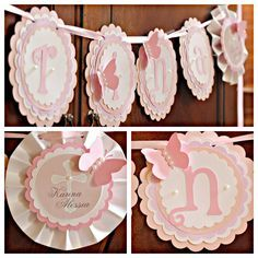 First Communion / Baptism decor.  Religious NAME banner by Charming Touch Parties.  Shades of pink and ivory shimmer.  Fully assembled.