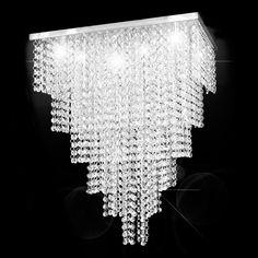 LUSTRE CRISTAL ASFOUR EGÍPCIO EMPIRE STATES QUADRADO 45X45X55CM - JP/EMPIRE/45 Luxury Chandelier, Black Chandelier, Chandeliers, Hanging Crystals, Luster, Empire State, Shades, Ceiling Lights, The Originals