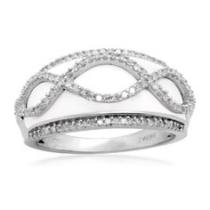 I just love this piece. the diamonds sparkle . this ring is so unique i get tons of complements. i would highly recommend this product. The enamel is a pretty ivory color and even though the diamonds are small, the setting shows off how sparkly they are.