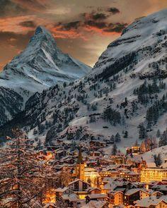 Zermatt, Winter Sunset, Winter Scenery, Winter Night, La Provence France, Image Nature, Top Travel Destinations, Beautiful Places To Travel, Romantic Travel