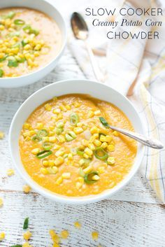 Rich, sweet and comforting, Slow Cooker Creamy Potato Corn Chowder (Dairy-Free) is super simple to throw together and is oh-so creamy without the cream! And, since you can use fresh sweet corn or frozen, this easy dinner recipe is sure to become a family favorite.