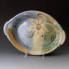 Oval Casserole with Flower Motif Handmade Oval Baking Dish