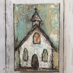 Painting acrylic art church by kirstenreed on Etsy