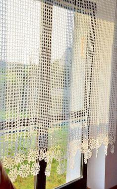 Curtain Crocheted curtain Crochet curtain by Katescrochetwork Crochet Curtain Pattern, Crochet Curtains, Curtain Patterns, Lace Curtains, Crochet Tablecloth, Crochet Motifs, Thread Crochet, Filet Crochet, Crochet Doilies