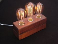 MAKE IT - DIY tutorial step by step instructions - vintage  table lamp with wooden stand and edison bulbs + also check out the lamp by Andrew Berg