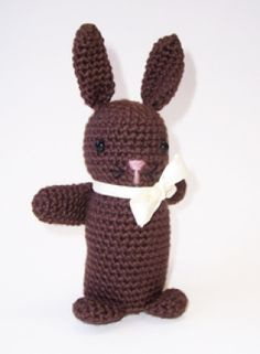 I had a crocheted rabbit puppet that was very similar to this; the stuffed version is adorable!