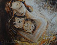 mother two children sisters brothers gold brown - Linger - Archival and signed 13x19 art print. $54.00, via Etsy.