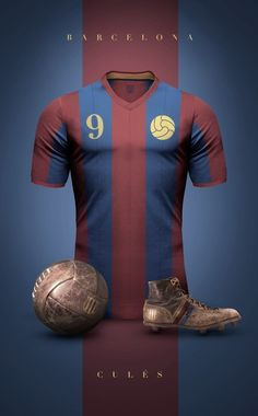 """Concept design of some football clubs in vintage style by Argentinian/Italian graphic designer Emilio Sansolini. """"Experiment to see football jerseys a. Club Football, Sports Football, Retro Football, Football Kits, Football Jerseys, Fc Barcelona, Barcelona Futbol Club, Camisa Retro, Vintage Jerseys"""