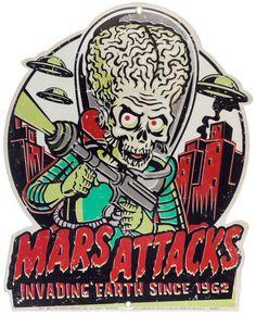 RETRO A GO GO MARS ATTACKS INVADING EARTH TIN SIGN