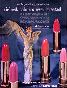 MAX FACTOR COLOR-FAST LIPSTICK 1950's ad from Vanity Fair U.K Fashion mag Oct 1958 (minkshmink)