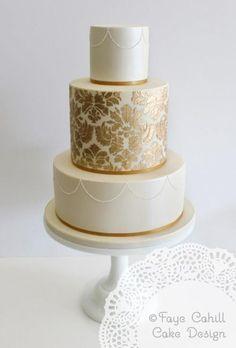 """Pomysł na tort weselny // Faye Cahill Cake Design """"gold damask"""" Elegant Wedding Cakes, Elegant Cakes, Beautiful Wedding Cakes, Gorgeous Cakes, Wedding Cake Designs, Amazing Cakes, Silver Cake, Gold Cake, Damask Cake"""