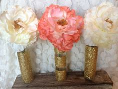 DIY: gold glitter vases...super cute for a gold and coral wedding or shower