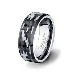 THIERRY Mens Tungsten Ring with Military Camo Pattern