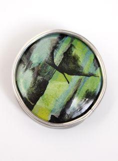 Anna Sprague. Jewelry Artist. Enamel. Pendant: Greens with Black. vitreous enamel, silver. annaspraguejewelry.com