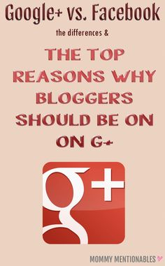 The differences between G+ and Facebook and The Top Reasons Why Bloggers Should Be on G+. It's been a little over 3 weeks and my blog traffic has increased overall. I have seen a 44% increase. #googleplus #seo #facebook