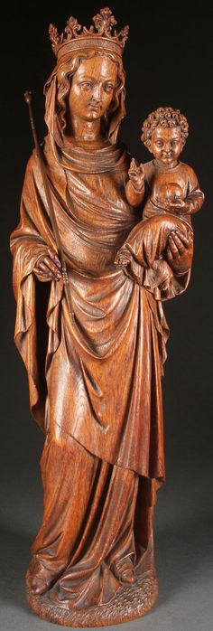 NEO GOTHIC CARVED VIRGIN & CHILD, GERMAN 19TH CENTURY