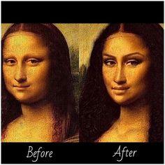 """""""Mona Lisa before and after makeup  #magic #makeup #contour #lol #monalisa"""""""