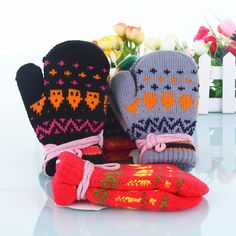 Cheap Children's Knitted Simple Full Finger Gloves Soft Winter, View Simple…