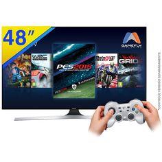 Smart tv 3d led 48 samsung full hd com wifi integrado, função festa, painel futebol, games, connectshare, conexões hdmi e usb + 2 Óculos 3d - 48j6400