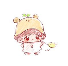 Easy Cartoon Drawings, Bts Drawings, Kawaii Drawings, Baekhyun Fanart, Kpop Fanart, Cute Boy Drawing, Exo Stickers, Exo Fan Art, Simple Cartoon