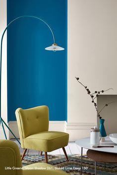 Little Greene Moon Shadow - For Interior Living Little Greene Paint, Navy Walls, Sweet Home, Moon Shadow, Luxury Wallpaper, Living Spaces, Living Room, Interior Decorating, Interior Design
