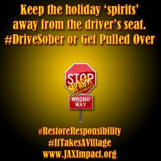Keep the holiday 'spirits' away from the driver's seat. #DriveSober or Get Pulled Over #RestoreResponsibility #ItTakesaVillage