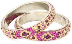 Chamak by priya kakkar 2 Bangle Bracelet with A Geometric Flower Design $26.99