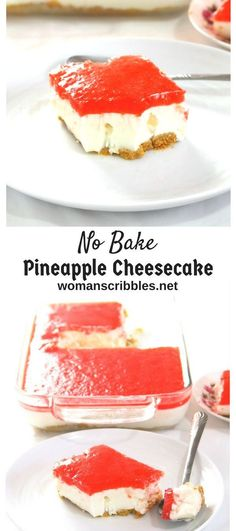 This no bake Pineapple Cheesecake is a creamy dessert with a hint of freshness from the pineapples. It is a simple, tasty treat nestled on a buttery graham crust. (no bake desserts pineapple) Easy Cheesecake Recipes, Best Dessert Recipes, Easy Desserts, Sweet Recipes, Delicious Desserts, Yummy Food, Filipino Desserts, Amazing Recipes, Cheesecake Desserts