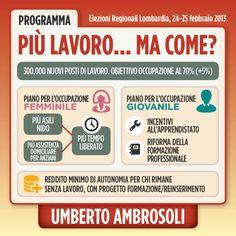 Infografica su Lavoro - programma di Umberto Ambrosoli candidato presidente alla Regione Lombardia nel 2013