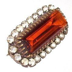 Victorian Brooch Pin Topaz Amber Color & by BrightgemsTreasures, $64.50