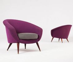 Folke Jansson; Wood and Brass Lounge Chairs, 1950s.