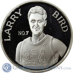 Larry Bird 1 oz Silver Round - USA Basketball .999 Pure  Twelve-time NBA All-Star, three-time MVP, three-time NBA Champion, two-time NBA Finals MVP...  This list keeps going!  http://www.gainesvillecoins.com/submenu/536/sports-memorabilia.aspx