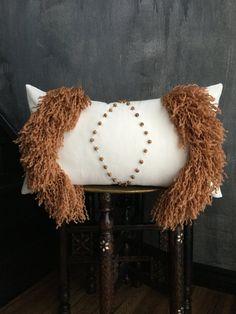 Brown Fringe Tassel Moroccan Inspired Pillow | Boho Pillow | Wooden Round Beads | Handira | Cream Cotton | Fringe | Tassel | African