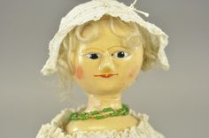 "ENGLISH WOODEN ""QUEEN ANNE"" TYPE DOLL : Lot 1304"