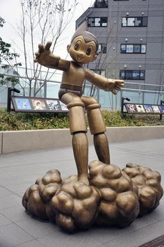 """Atom from 'Mighty Atom-Astro Boy'-Tomorrow's Joe' - Anime bronze statues in Nerima Ward, Tokyo. Nerima Ward is known as the birthplace of Japanese anime as the companies that produced Japan's first color feature-length animated movie """"Hakujaden"""" (1958) and the first serial TV animation """"Mighty Atom"""" (1963) have been located in the ward."""