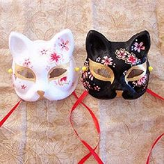 singlestopshop Pcs Upper Half Face Japanese Hand-Painted Fox Masks Kitsune Masquerade Black Whie Color for Party Halloween Carnival Anime Girl Crying, Anime Art Girl, Asian Fox, Japanese Fox Mask, Cool Masks, Creepy Masks, Lobo Anime, Kitsune Mask, Anime Ninja