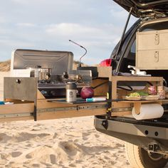 The Scout Equipment Overland Vehicle Kitchen is built for the Toyota 4Runner, Tacoma, Jeep JK, Sprinter Vans, and more. Camp More Work Less.