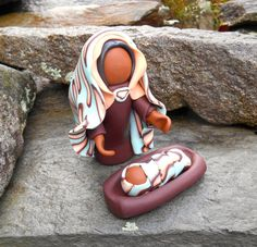 African Nativity Set, Miniature Polymer Clay Nativity, Our Lady of Kabeho, Unique Nativity, OOAK Nativity, Jesus & Mary Polymer Set