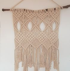 Macrame Wall Hanging - Boho Decor or Hamptons Style on Driftwood - Made from cotton rope Boho Wall Hanging, Macrame Knots, Cotton Rope, Bohemian Decor, Driftwood, The Hamptons, Wall Art Decor, Crochet Top, Artwork