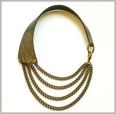 Maxi Collar de Piel Aguada en Negro-Bronce. Maxi Leather Necklace in Watery Black-Bronze. www.lesespirals.com