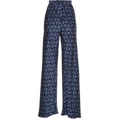 Etro Paisley-print wide-leg trousers (€1.025) ❤ liked on Polyvore featuring pants, bottoms, blue multi, high rise pants, high-waist trousers, layering cami, wide-leg trousers and highwaist pants