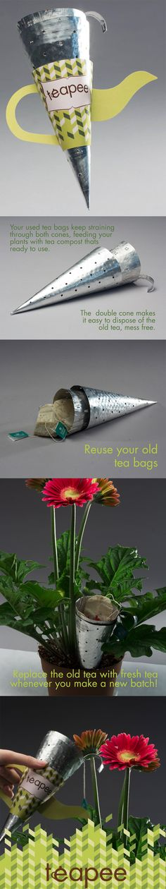 Made from aluminum pie plates Teapee is the perfect DIY concept product for the tea loving, environmentally conscious consumer. Teapee gives a second life to your used teabags and loose leaf tea by steeping them into your indoor plants. This type of composting is quick, easy, and helps give your plants nutrients during those long winter months. https://www.facebook.com/teapeedesign