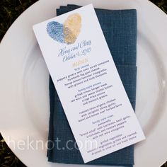 Thumbprint menu cards | Jessamyn Harris Photography | www.theknot.com