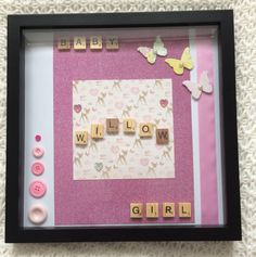 A personal favourite from my Etsy shop https://www.etsy.com/uk/listing/523019088/baby-girl-frame-with-personalised-name