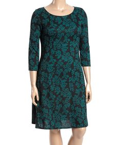 Another great find on #zulily! Green Damask Shift Dress - Plus by Poliana Plus #zulilyfinds
