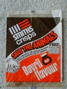 Bovril crisps were fab. My grandma used to buy us Bovril flavour crisps. I think they came in a white bag and tasted very, very beefy! Old Sweets, Vintage Sweets, Retro Sweets, Retro Food, 1970s Childhood, My Childhood Memories, Best Memories, Vintage Packaging, Nostalgia