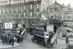 The Court Cinema, Tottenham Court Road, in The Cinema stood on the site of the present Dominion Theatre and the photograph is from the Stockholm Transport Museum archive London Pictures, London Photos, Old Pictures, Old Photos, Vintage Photos, Victorian London, Vintage London, Old London, Transport Museum