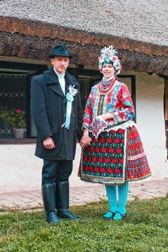 Europe | Portrait of a couple wearing traditional clothes, Sióagárd, Dunántúl, Hungary